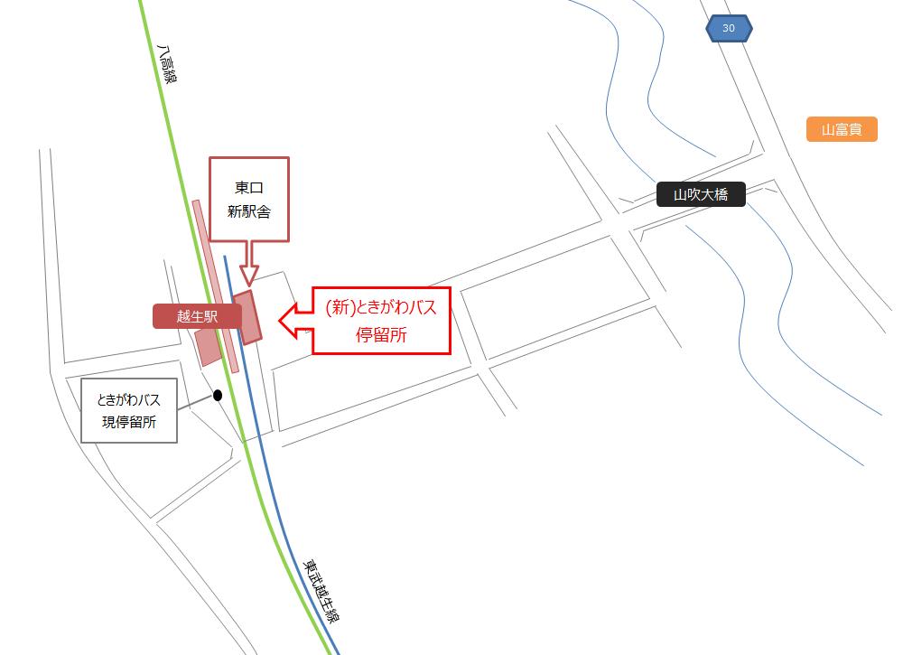 新越生駅周辺マップ